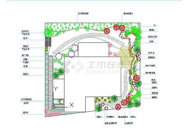 别墅庭院景观总平面图