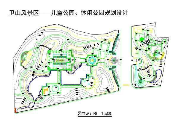 本资料某地小型公园竖向园林景观设计图,其包含的内容为平面图等仅供