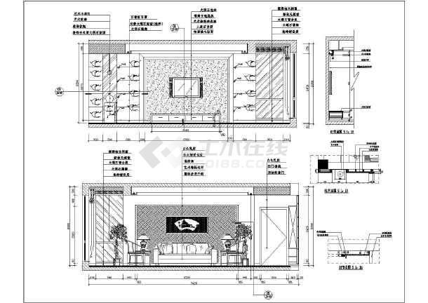 本图纸为:某小区客厅装修设计方案主立面节点详图,其中包含:立面图等