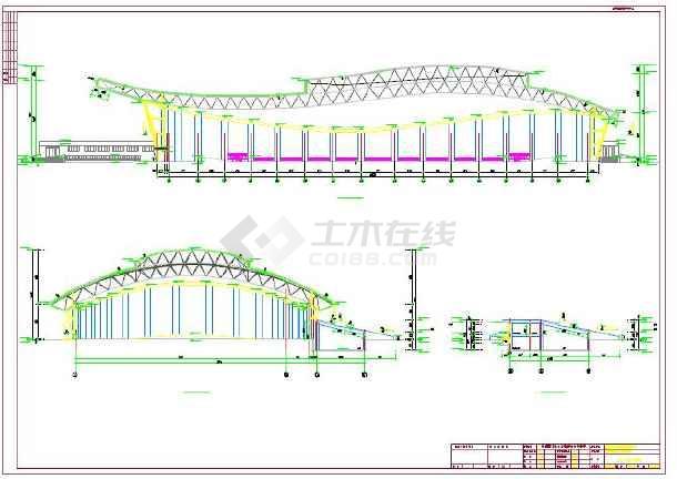 单层网架结构乙级室内田径馆建筑施工图