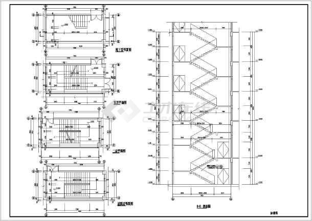 某多层框架房屋楼梯建筑和结构详图_cad图纸下载-土木
