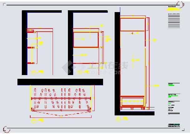 某地区三室一厅住宅建筑装饰装修图_cad图纸下载-土木图片