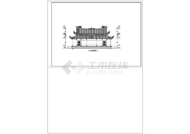 某地单层框架结构重檐歇山大殿建筑方案图,图纸包括,一层平面图,屋顶