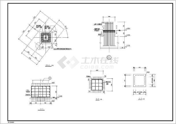 某地一水煤浆全套设备基础含义结构施工图_c锅炉建筑中aqm图纸图片