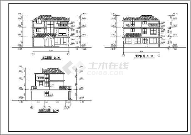 平屋面建筑构造 一_某地3层砌体结构别墅建筑平立剖面图方案_cad图纸下载-土木在线