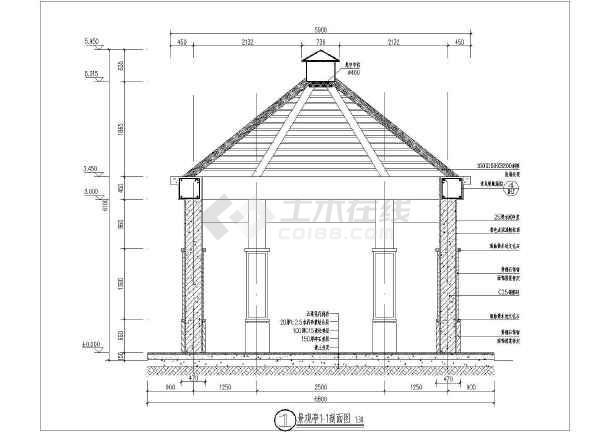 某钢筋混凝土防腐木六角景观亭施工图