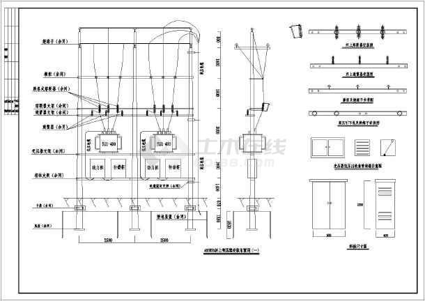 工地临时用电400KVA杆上变压器高低压方案图-图2