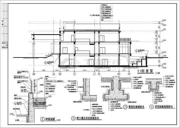 某地区带室内游泳池三层别墅建筑设计施工图(含结构设计)图片