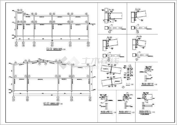 某地高低跨2层钢结构结构厂房结构施工图