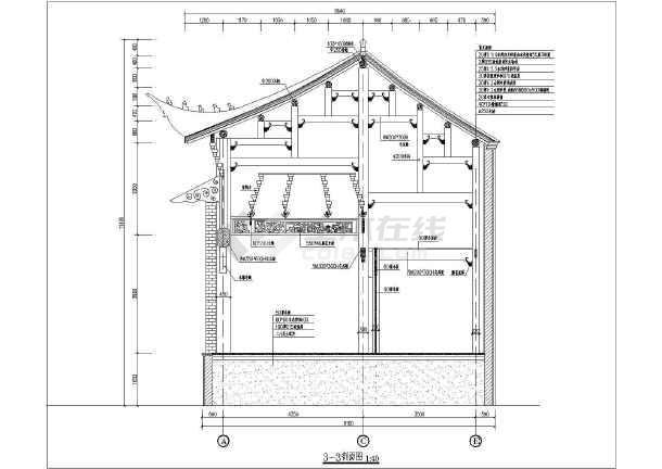 仿古大型木结构戏楼结构施工图(复杂梁雕花)