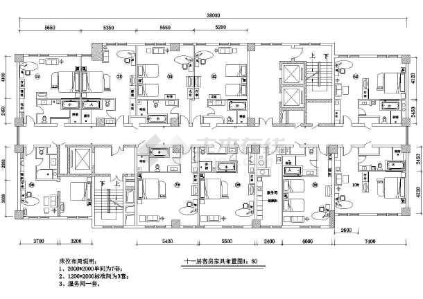 某地区四星级酒店客房设计图纸(共17张)图片
