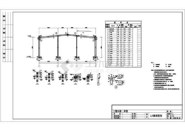 某15米跨库房钢结构设计图