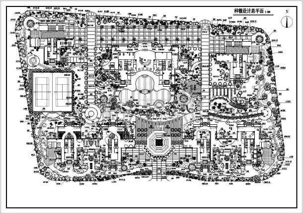 某居住区种植植物设计总规划平面图cad图