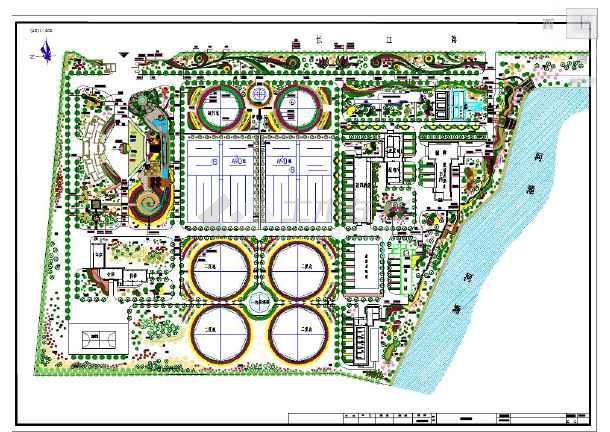 污水处理厂园林景观设计cad平面布置图