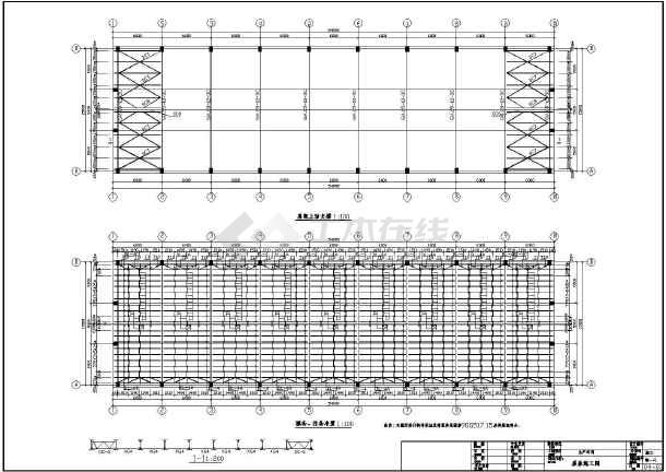 某地服装厂排架结构生产车间结构设计施工图图片