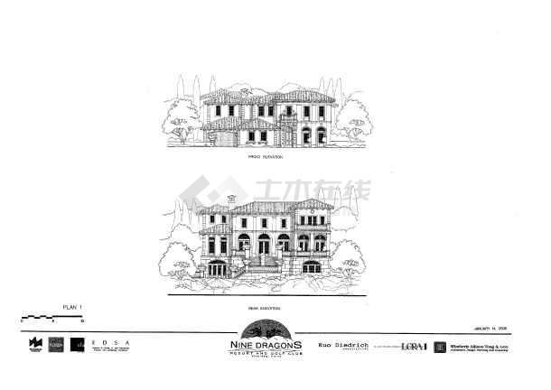 别墅设计图  别墅手绘图  别墅手绘图简介:  高清晰欧式风格的手绘