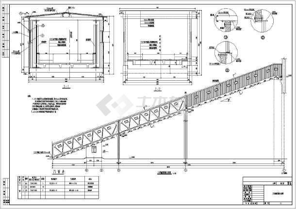 某地区混凝土桁架+钢图纸栈桥图纸施工图_cad桁架下载的花cad结构图片