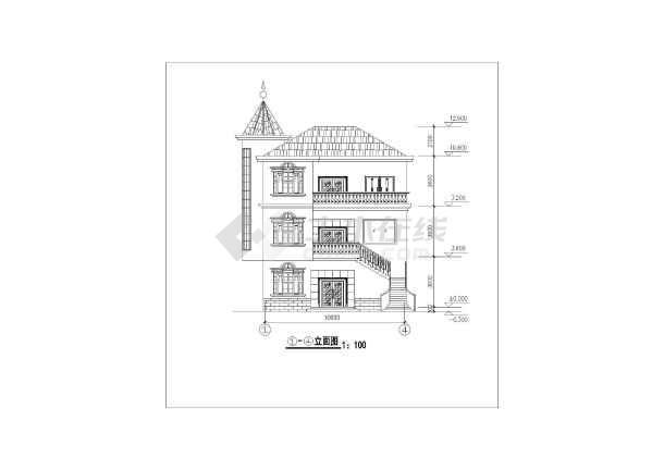某农村三层框架结构别墅建筑设计方案图
