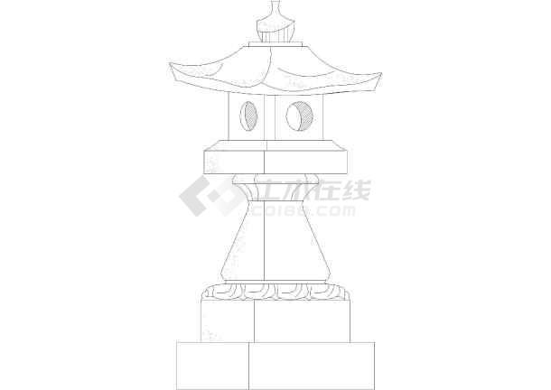 公园景观灯雕塑cad立面设计图(仿古风格)-图2