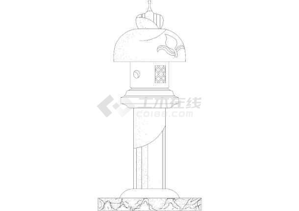 公园景观灯雕塑cad立面设计图(仿古风格)-图3