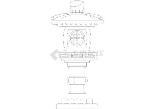 公园景观灯雕塑cad立面设计图(仿古风格)-图1