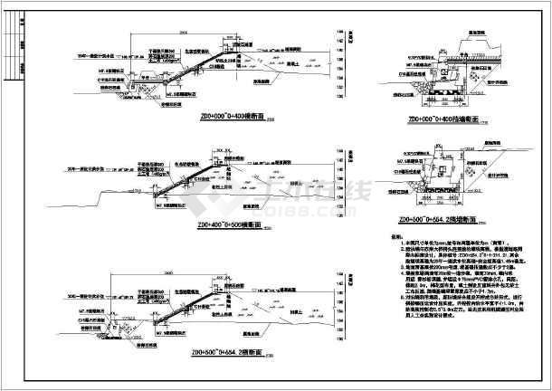 堤涵施工方案_技施阶段某防洪堤施工结构布置设计图纸