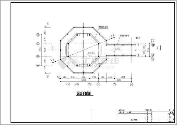 某仿古八角亭建筑,结构设计施工图