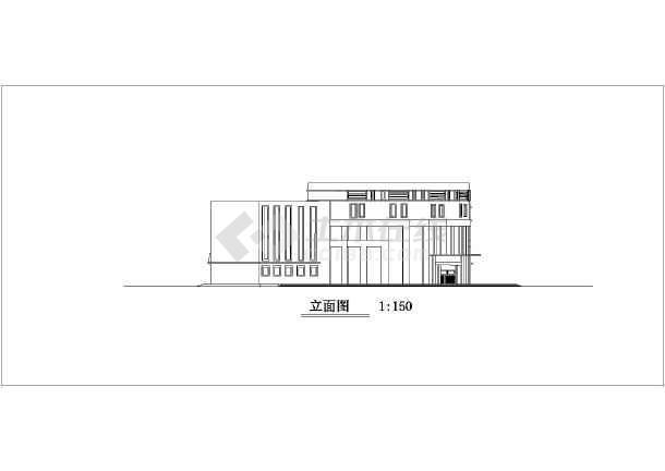 某地三层框架结构图书馆建筑设计方案图