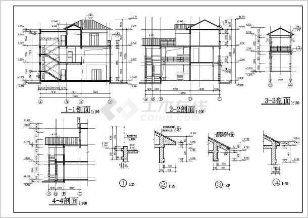 某地区三层坡屋顶别墅结构施工图(含建筑设计)