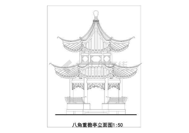 南方某景点八角重檐亭建筑设计方案图