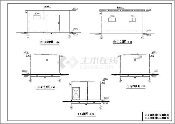 某图纸单层公共厕所建筑设计施工图_cad画法建筑图纸厂区指北针图片