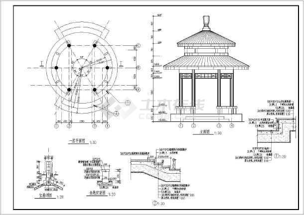 古典园林仿古(攒尖)双层景观亭施工图