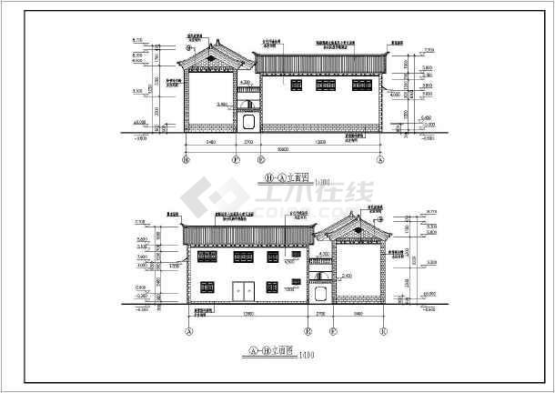 某白族图纸别墅仿古二层建筑设计施工图民居复印工程市南设计图片