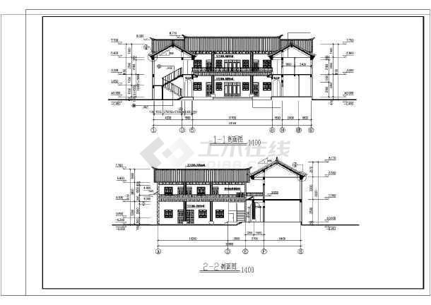 某白族别墅民居仿古二层建筑设计施工图_cad图纸牛号乐高铁图片
