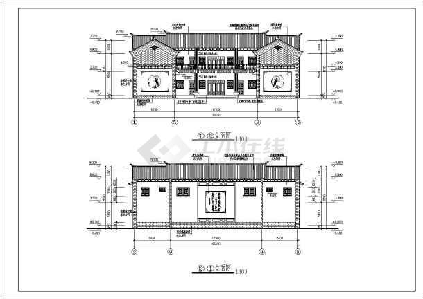 某白族民居二层仿古别墅建筑设计施工图图片