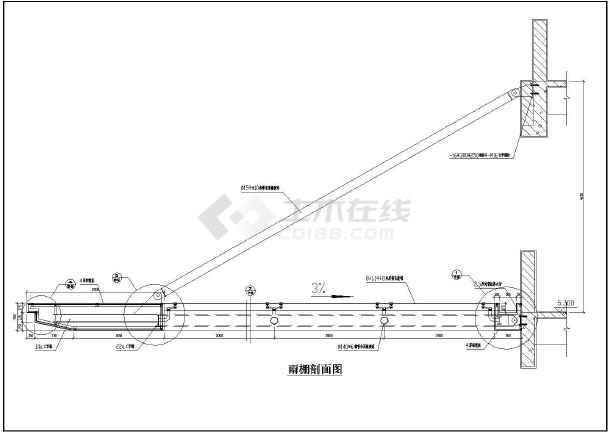 斜撐鋼拉桿鋼結構玻璃雨棚施工圖設計