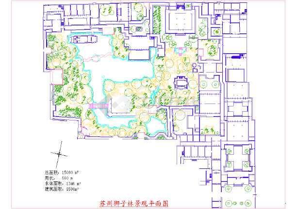 图纸包括苏州古典园林的拙政园景观平面图,狮子林景观