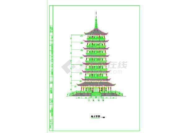 古建七层宝塔建筑施工图图片1