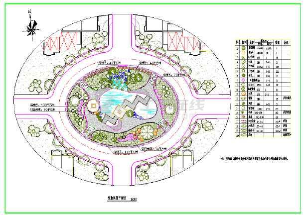 某地园林植物配置平面图(含图例)图片1