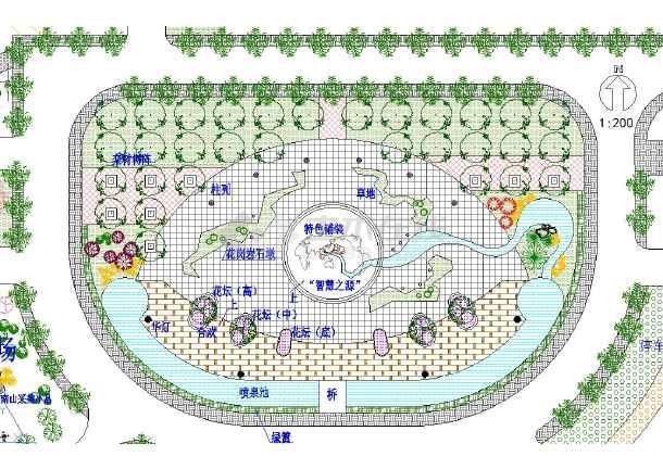某地区中心广场园林景观设计总平面图图片1