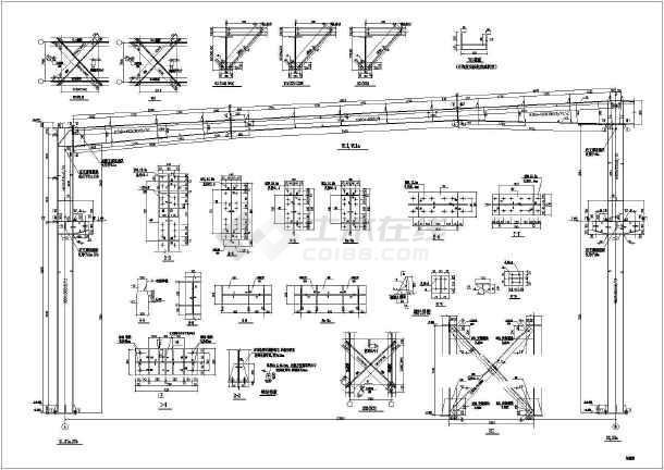 有行车钢结构厂房结构设计施工图纸