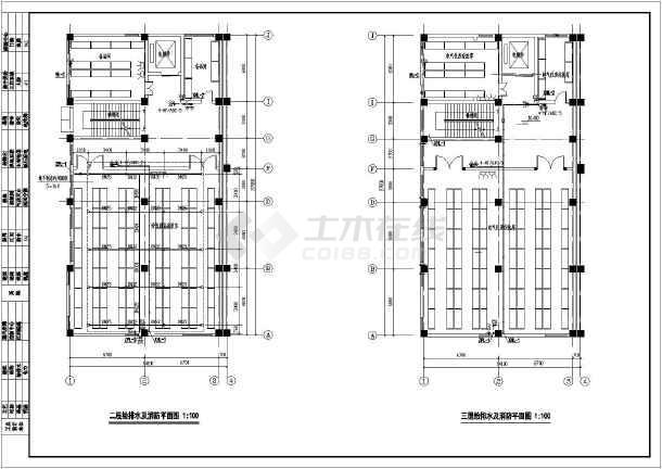某三层货架图纸给排水、消防v货架施工图cad无法复制仓库直接图片