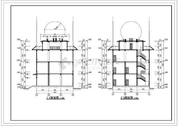 四层框架结构气象雷达探测楼建筑施工图