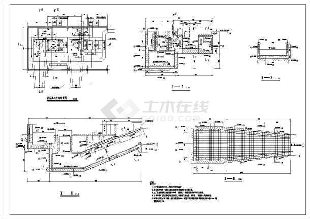 某水电站厂房发电机设备基础配筋图图片1
