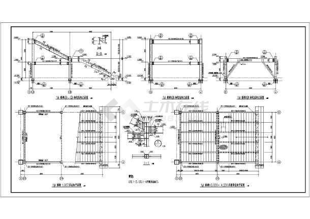 包括:梯段结构平面图,结构,槽钢与h型钢连接详图,平台铺板及加劲肋