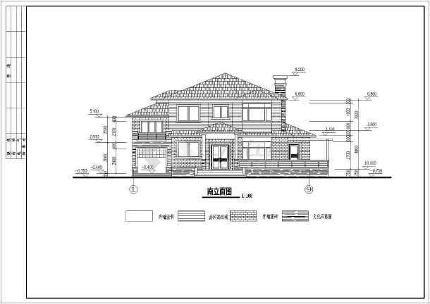 某农村三层别墅建筑设计方案图(含坡屋面)