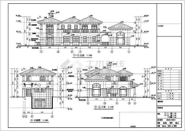 层欧式风格别墅建筑施工图  相关专题:二层别墅建筑施工图二层独栋