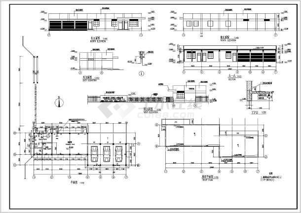 某机器厂单层动力房建筑设计图(长54米 宽15米)