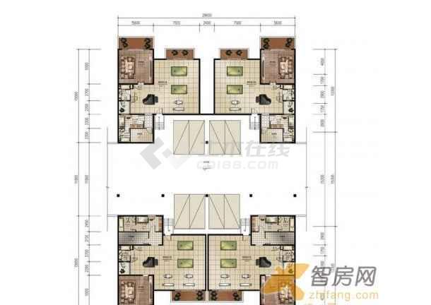 联排双拼合院别墅户型图(jpg带尺寸)图片3