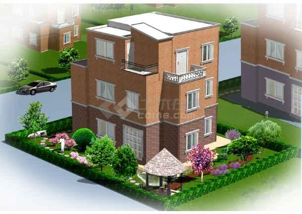 别墅庭院绿化效果图